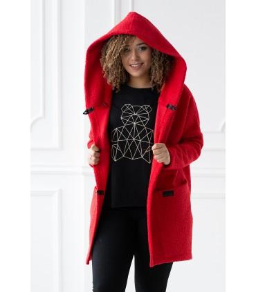 Malinowy płaszcz oversize z kapturem TIFFANY