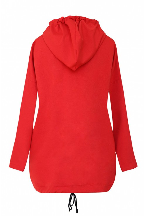 Czerwona bluzka/bluza z pionowym paskiem - MARTHA