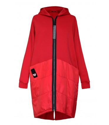 Czerwona zapinana kurtka/bluza z kapturem - GWEN