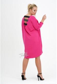 sukienka oversize kolor fuksja - duże rozmiary