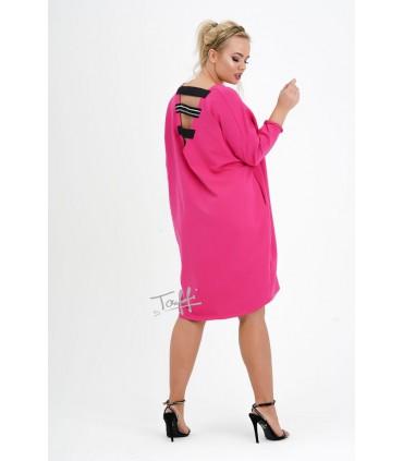 Fuksja sukienka dresowa z wycięciem na plecach - GUM