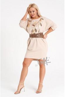 beżowa sukienka z cekinowym wzorem - duże rozmiary