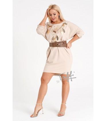 Beżowa sukienka z cekinowym wzorem w liście - WATERFALL
