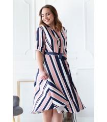 Pudrowo-granatowa sukienka z wzorem w paski - POPPY