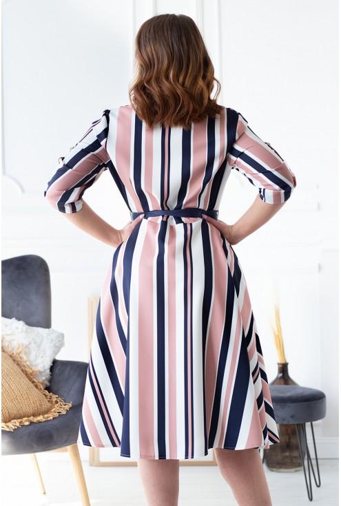 tył sukienki retro w paski plus size xxl