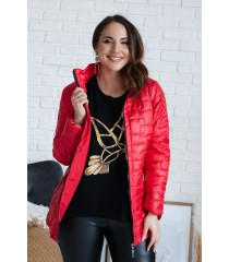 Czerwona pikowana kurtka ze stójką - BRIDGET II