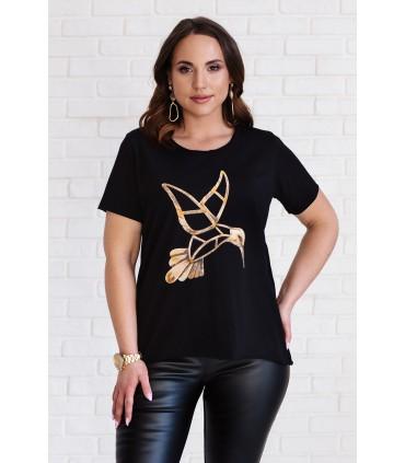 Czarna bluzka z krótkim rękawem - wzór koliber - JENA