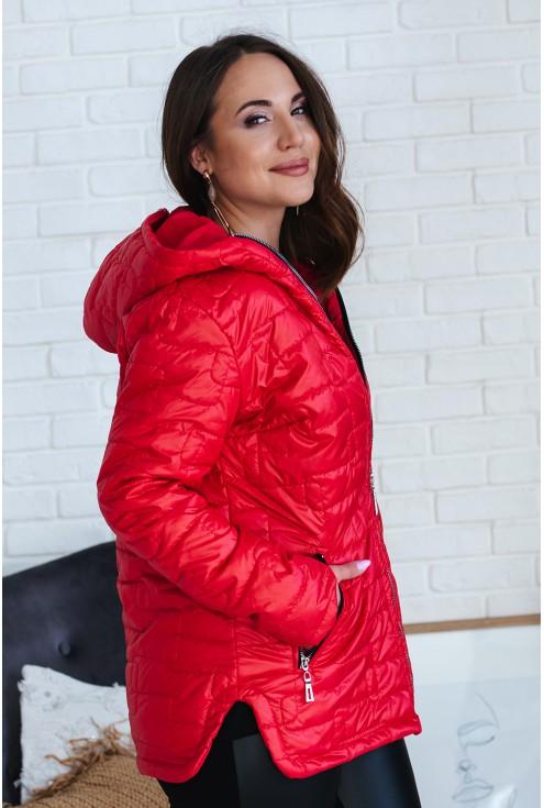 Czerwona pikowana kurtka z kapturem - BRIDGET