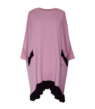 Pudrowa sukienka dresowa z falbaną na dole - ESTA