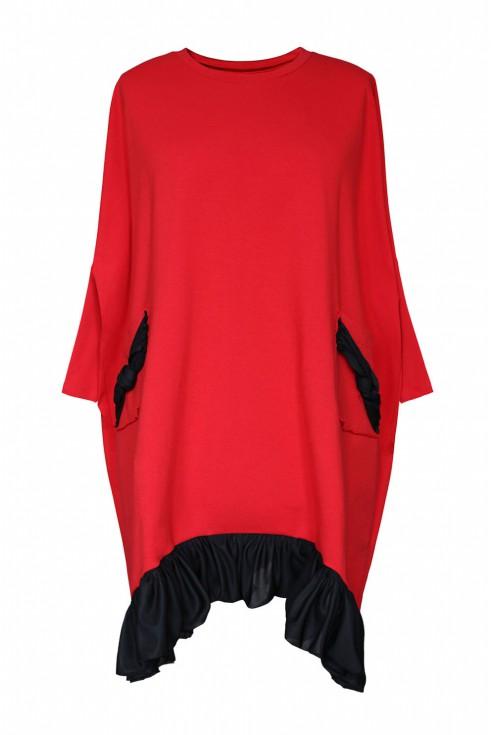 czerwona sukienka z falbanką