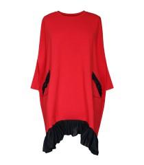Czerwona sukienka dresowa z falbaną na dole - ESTA