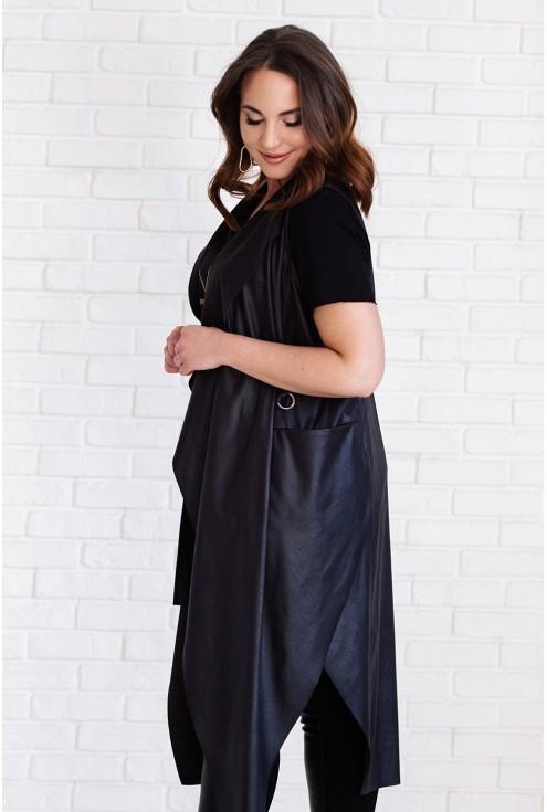 Czarna długa elegancka kamizelka - SANDRINE