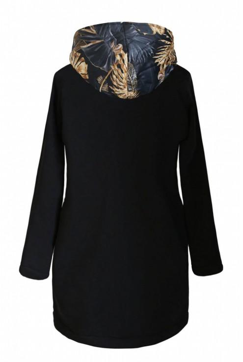 Czarna bluza-kurtka z kapturem - złote liście - SISSY
