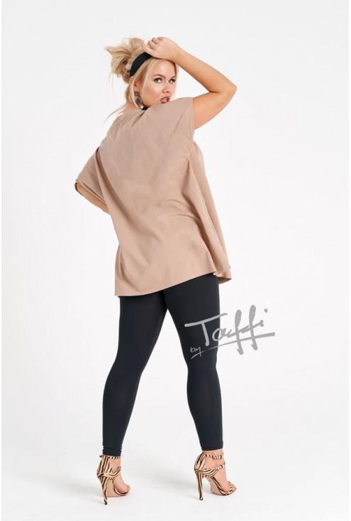beżowa bluzka ze złotym wzorem - duże rozmiary