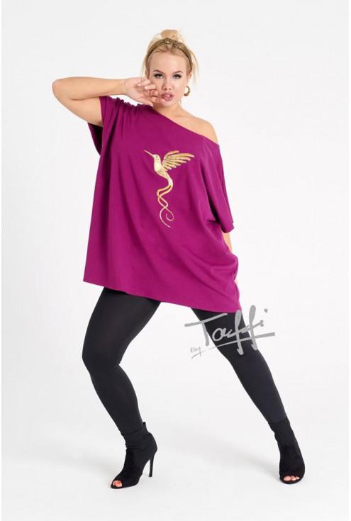 fioletowa bluzka ze złotym nadrukiem - duże rozmiary