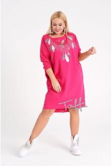 sukienka z cekinowym wzorem - fuksja
