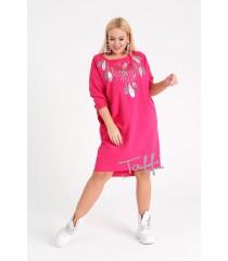 Fuksja sukienka z cekinowym wzorem w liście - WATERFALL