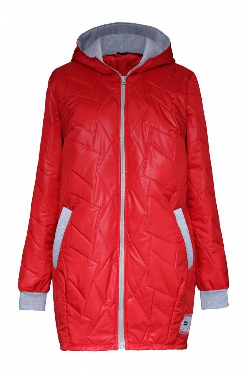 Czerwona pikowana kurtka plus size