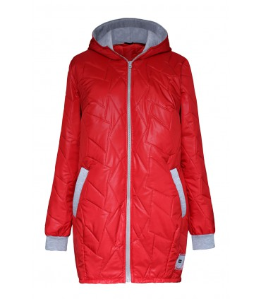 Czerwona pikowana kurtka z szarym ściągaczem - CAROLINA