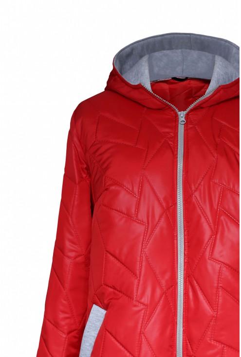 Pikowana czerwona kurtka z suwakiem plus size