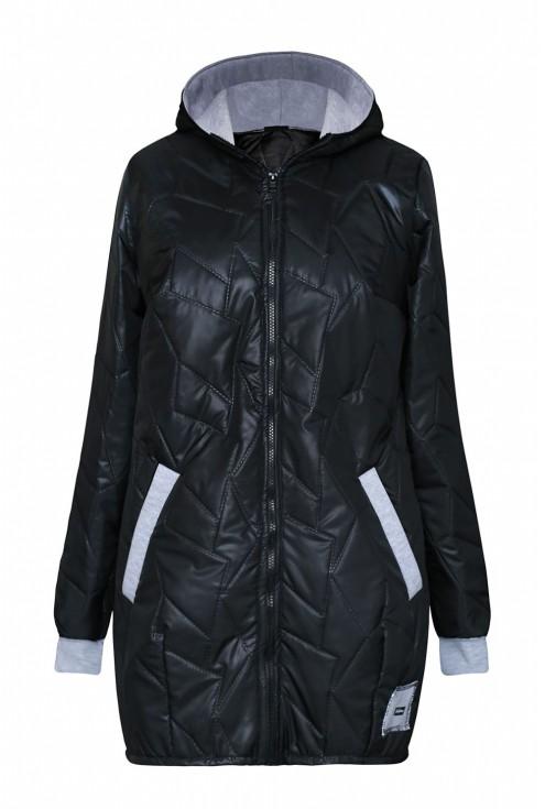 czarna kurtka z szarym ściągaczem xxl
