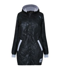 Czarna pikowana kurtka z szarym ściągaczem - CAROLINA