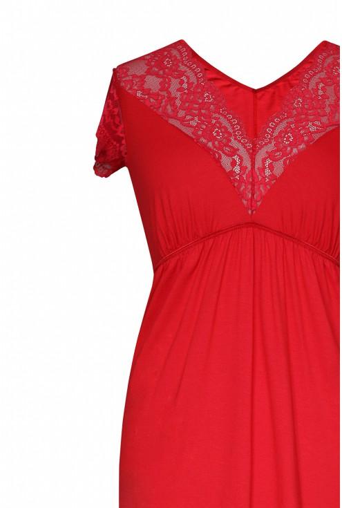 czerwona koszulka nocna z koronką - detal