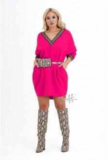fuksja sukienka oversize - duże rozmiary