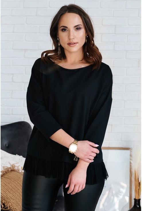 Czarna bluza z tiulową falbanką i misiem - CAITLIN