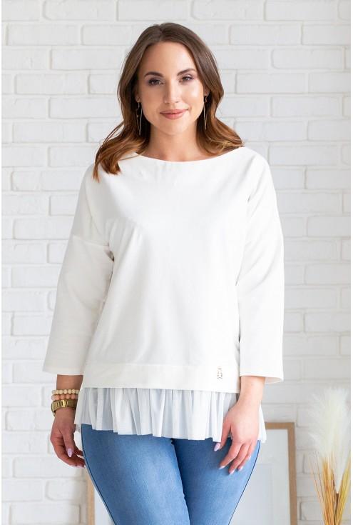 kremowa bluzka z tiulem xxl