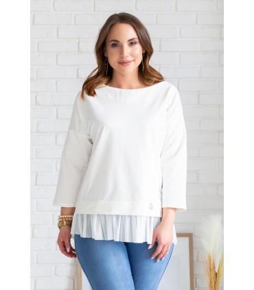 Biała bluza z tiulową falbanką i misiem - CAITLIN