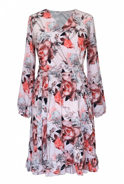 pudrowa sukienka w kwiaty xxl