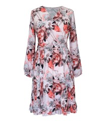 Różowa sukienka w kwiaty z kopertowym dekoltem - ADELITA
