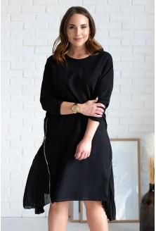 czarna sukienka z tiulem na bokach
