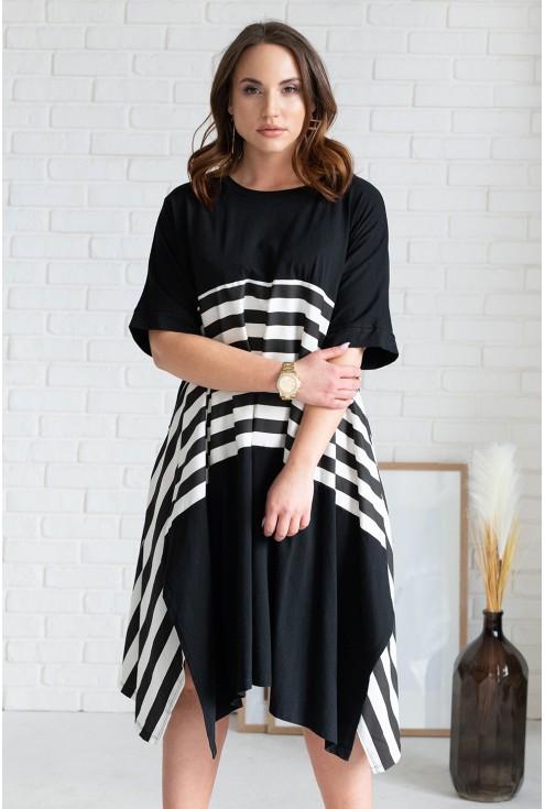 Czarna rozkloszowana sukienka STRIP