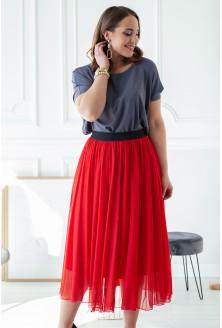 Czerwona tiulowa spódnica z czarną gumką - HOLLY