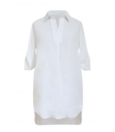 Kremowo-biała tuniko - koszula - SUSANNY II z krótkim rękawem