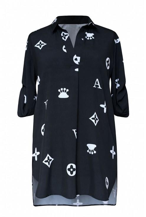 czarna koszula ze wzorkiem xxl
