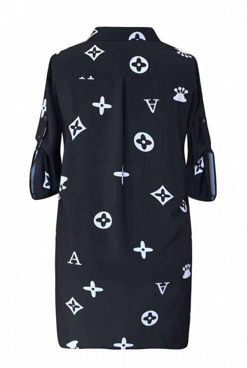 Czarna tuniko - koszula z wzorem krótki rękaw - SUSANNY