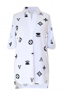 biała koszula z modnym wozrem xxl