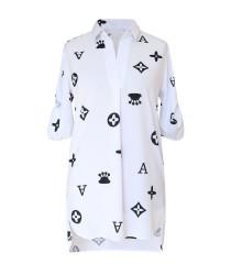 Biała tuniko - koszula modnym wzorem krótki rękaw - SUSANNY