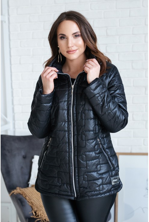 czarna pikowana kurtka ze stójką bridget