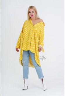 Żółta koszula w grochy plus size