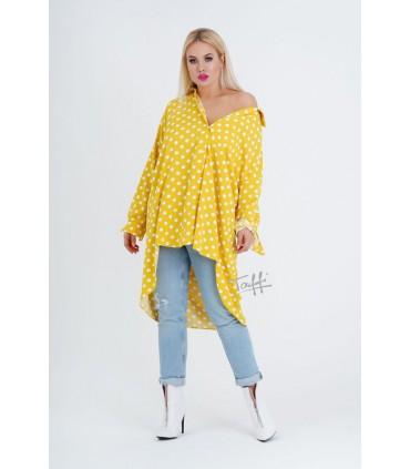 Żółta koszula - tunika w białe groszki - FORTI