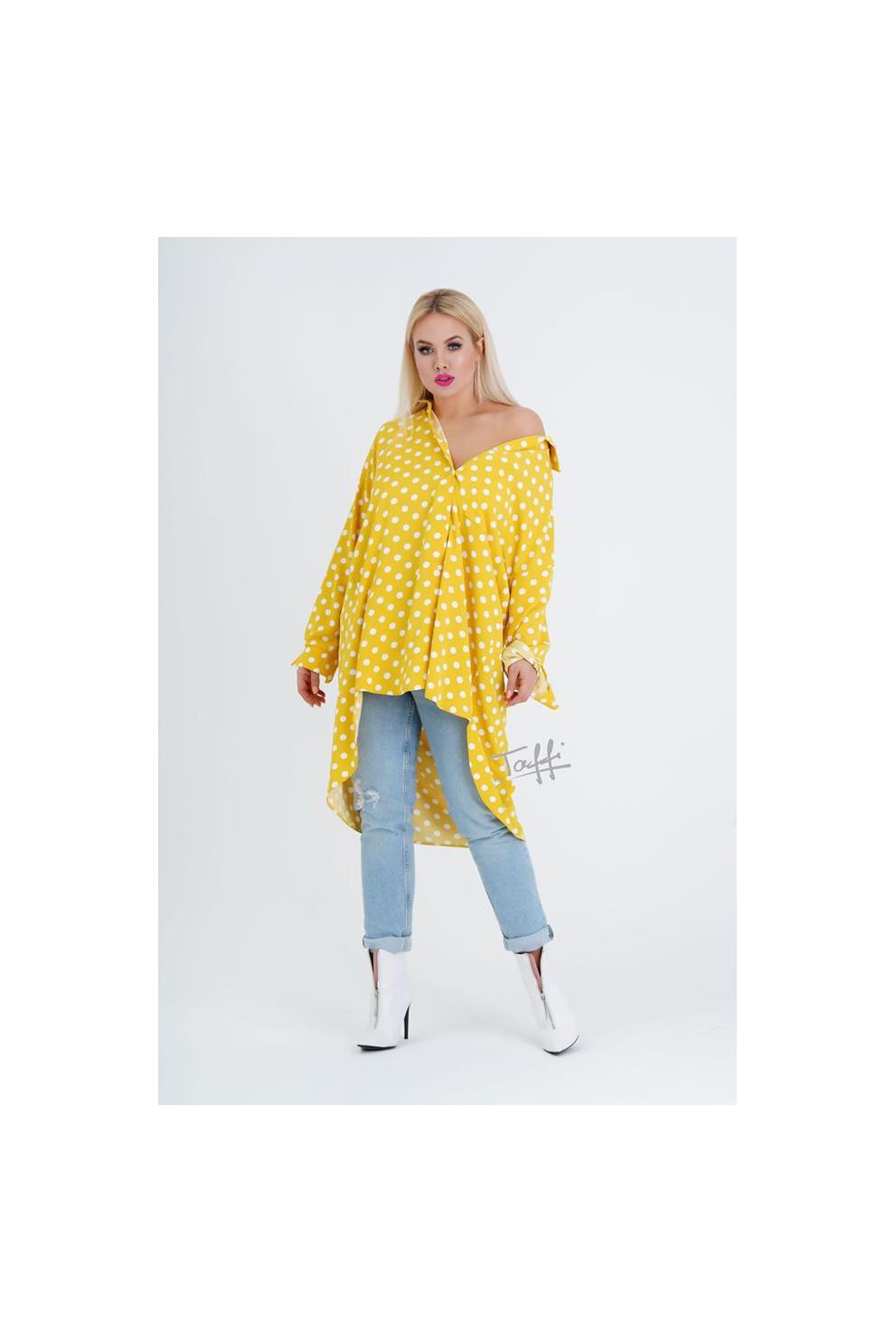Żółta koszula tunika w białe groszki asymetryczna w