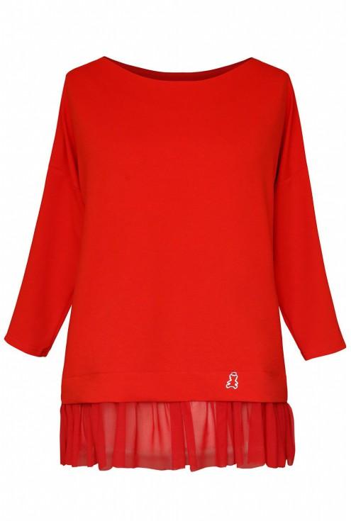 Czerwona bluza z tiulową falbanką i misiem - CAITLIN