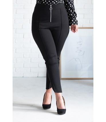 Czarne eleganckie spodnie w kant z wysokim stanem - 7/8 FORNELIA