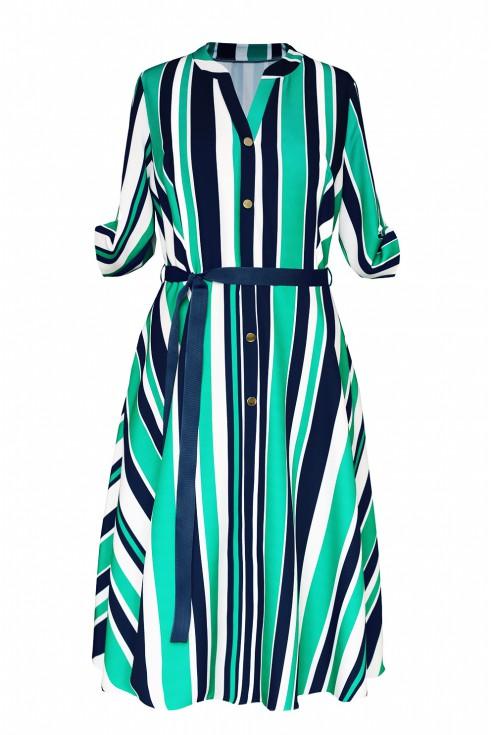 zielona sukienka paski