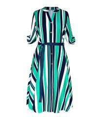 Zielono-granatowa sukienka z wzorem w paski - POPPY