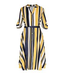 Żółto-granatowa sukienka z wzorem w paski - POPPY